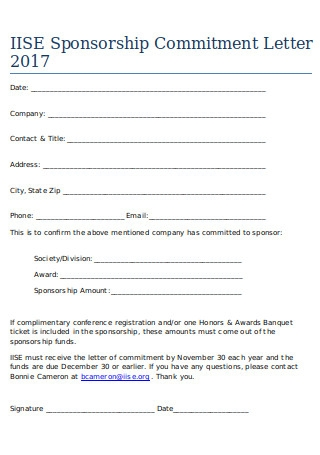 Letter of Sponsorship Commitment
