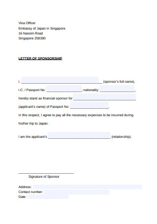 Letter of Sponsorship Example