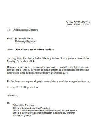 Letter of Sponsorship for Graduate Study