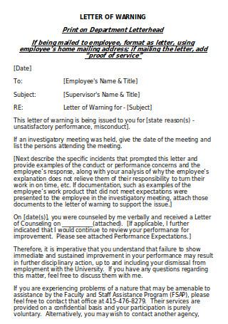 Letter of Warning Sample