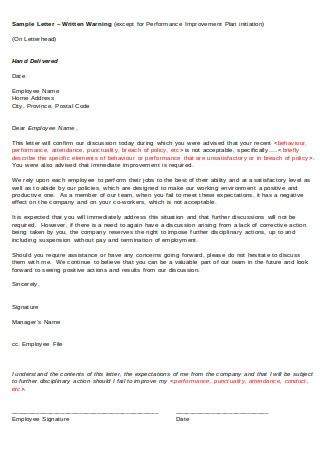 Letter of Written Warning Sample