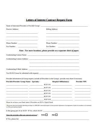 Letters of Interest Contract Request Form