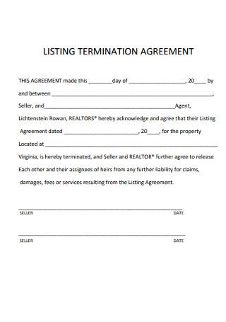 Listing Termination Agreement