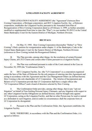 Litigation Facility Agreement