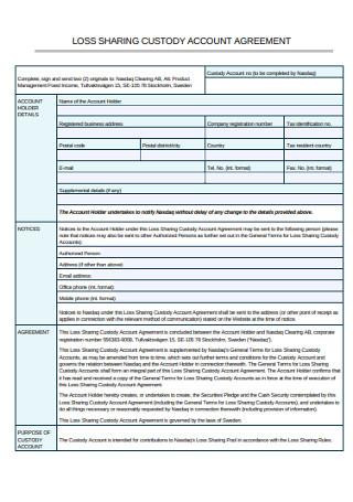 Loss Sharing Custody Account Agreement