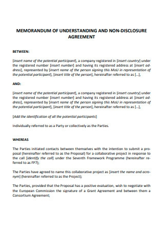 MOU and Non Disclosure Agreement