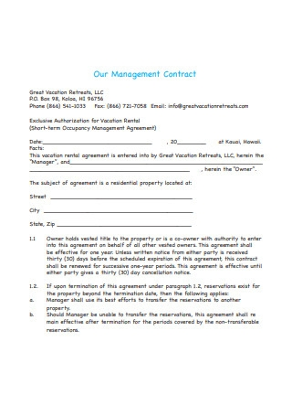 Management Contract Example
