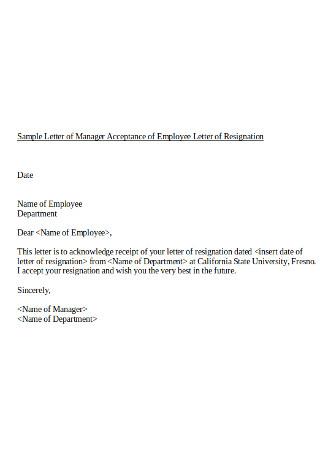 Manager Job Acceptance Letter