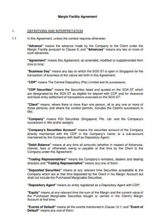 Margin Facility Agreement