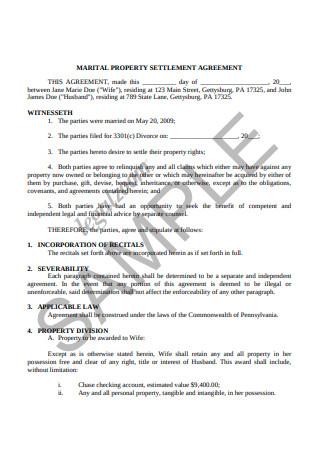 Marital Property Settlement Agreement