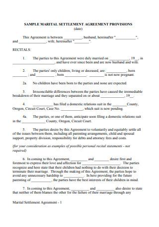 Marital Settlement Agreement Provisions
