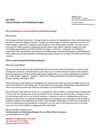 Marketig Manager Job Offer Cover Letter