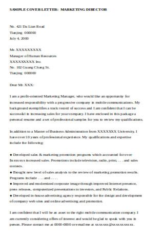 Marketing Director Cover Letter Sample
