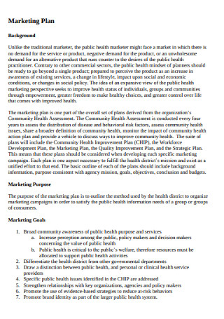 Marketing Health Plan