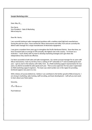 Marketing Manager Development Cover Letter