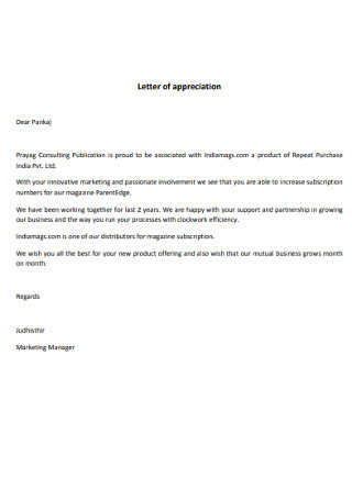 Marketing Manager Letter of Appreciation