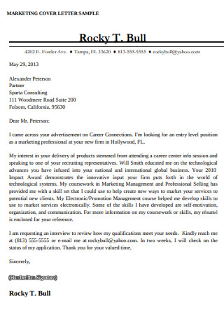 Marketing Professional Cover Letter Sample