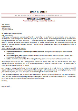 Marketing Saels Manager Cover Letter