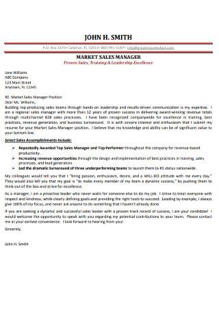 Marketing Sales Manager Cover Letter Sample