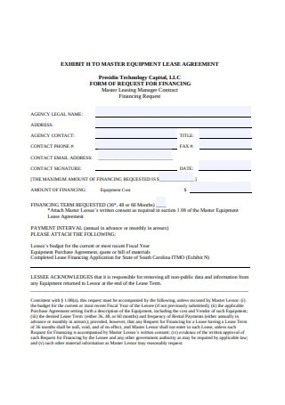 Master Equipment Lease Agreement Example