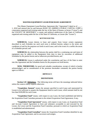 Master Equipment Lease Agreement