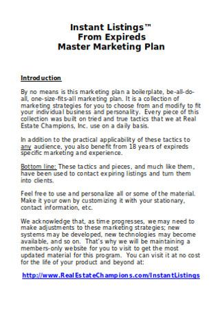 Master Marketing Plan