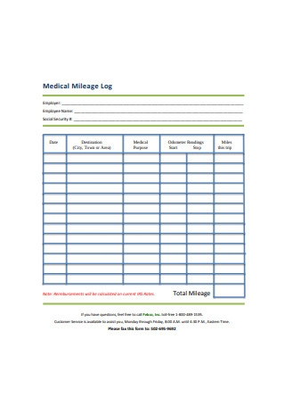 Medical Mileage Log Sample
