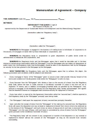 Memorandum of Agreement Company Form