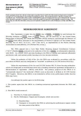 Memorandum of Agreement Form