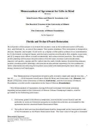 Memorandum of Agreement for Gifts
