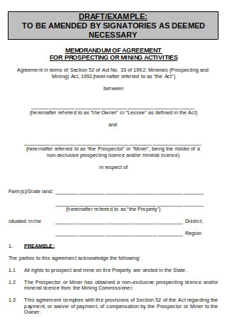 Memorandum of Agreement for Prospecting Activities