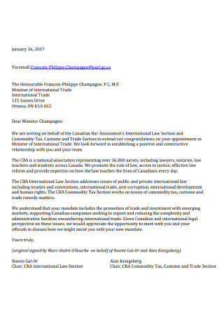 Minister Congratulations Letter