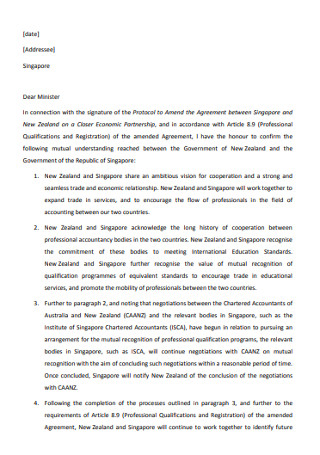 Minister Performance Recognition Letter