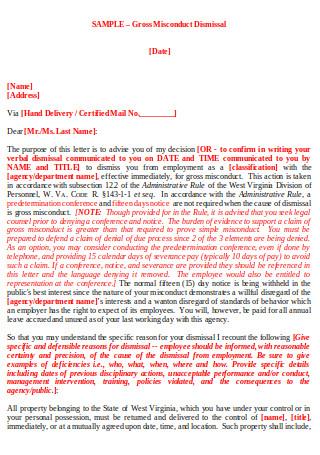 Misconduct Dismissal Letter