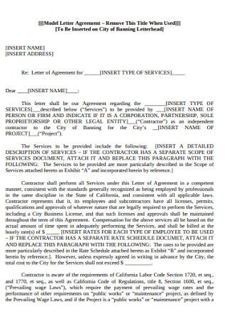 Model Letter Agreement