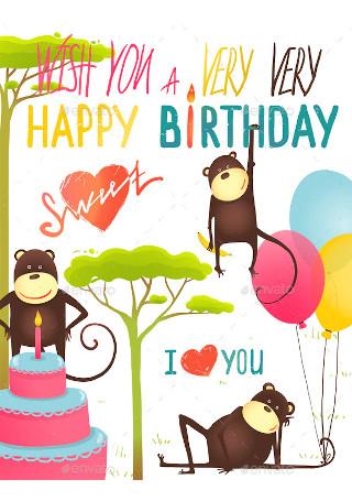 Monkey Fun Happy Birthday Card