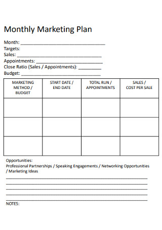 Monthly Marketing Sales Plan