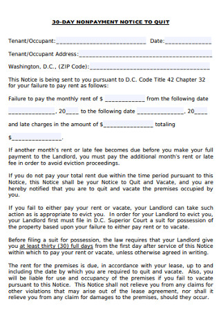 Monthly Non Payment Eviction Notice Form