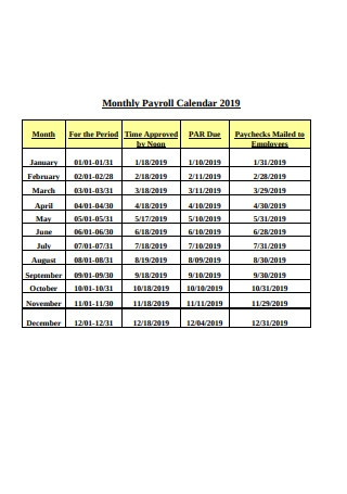Monthly Payroll Calendar 2019