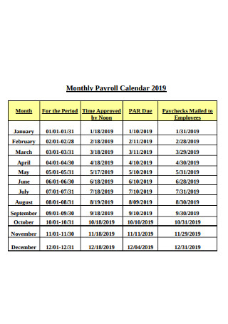Monthly Payroll Calendar