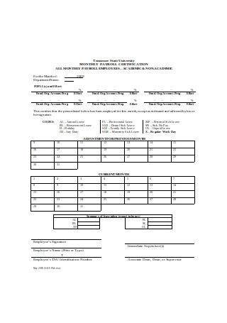 Monthly Payroll Certification Format