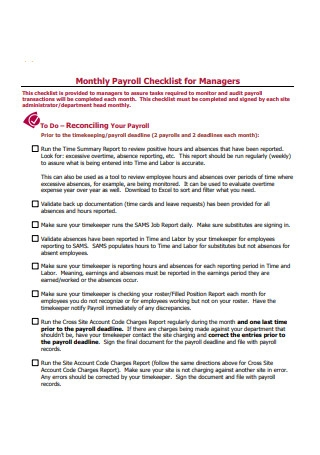 Monthly Payroll Checklist for Managers