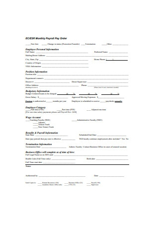 Monthly Payroll Format
