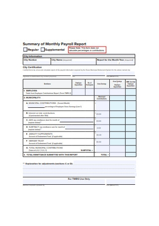 Monthly Payroll Report
