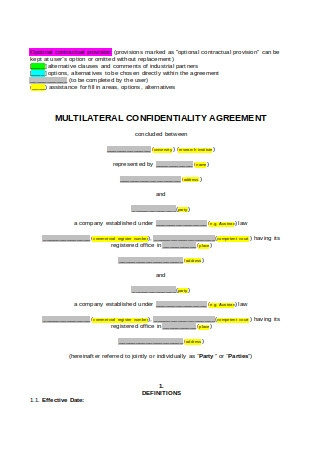 Multilateral Confidentiality Agreement