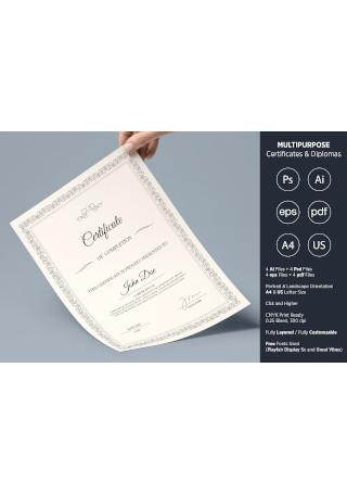 Multipurpose Certificates Diplomas