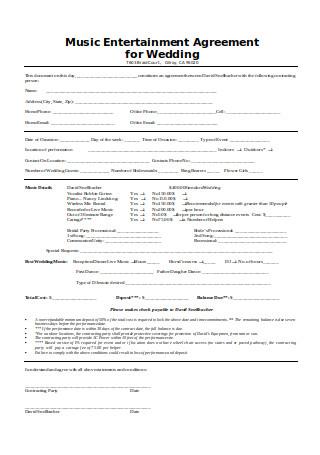 Music Entertainment Agreement for Wedding
