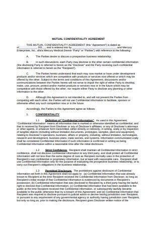 Mutual Confidentiality Agreement Example