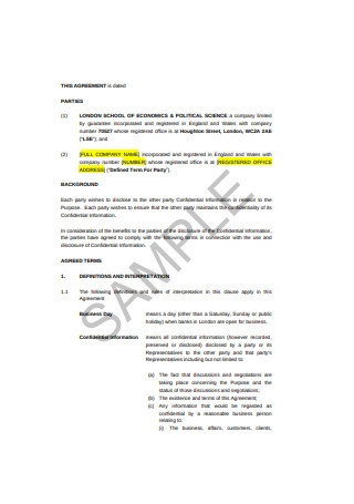 Mutual Confidentiality Agreement Format