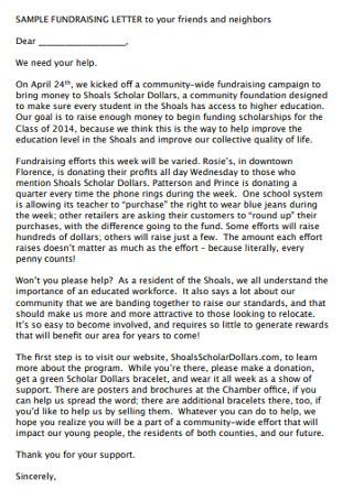 Neighbors Fundraising Letter